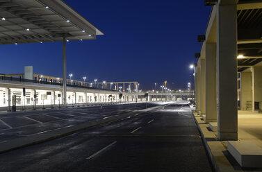 Germany, Berlin, Berlin Brandenburg Airport at night - BFR000848