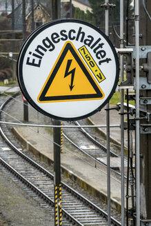 Austria, Leonding, caution label at rail route - EJW000619