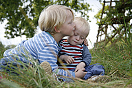 Two little brothers on a meadow - RB002256