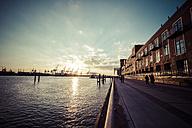 Germany, Hamburg, sunset at River Elbe - KRP001255