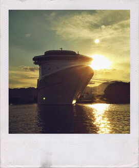 Cruise Ship at sunset at the port of Puerto Vallarta, Mexico - ABA001605