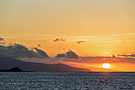 Pacific Ocean, Galapagos Islands, sunset above Santa Cruz Island - FOF007581