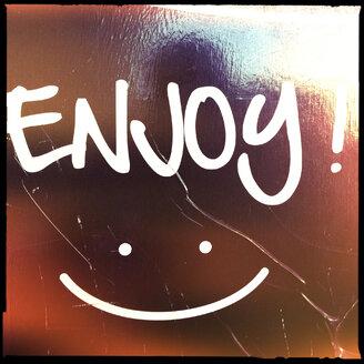 sign,enjoy, smile, smiley, happy, brisbane, queensland, australia - LULF000042