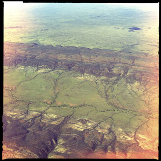rock formation, layers, billabong, dry river crossing, outback, aerial view, northern territory, australia - LUL000078
