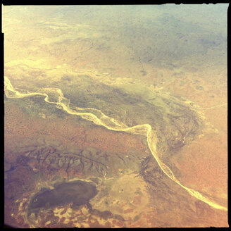 billabong, dry river crossing, outback, aerial view, northern territory, australia - LUL000081