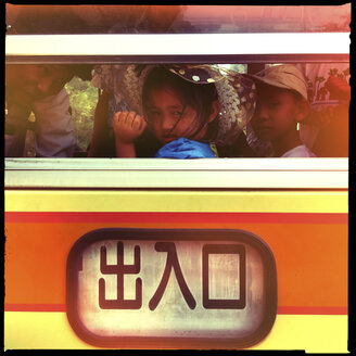 kids in public bus, bagan, myanmar - LUL000123
