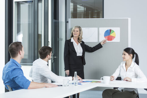 Meeting of four business people in a conference room - SHKF000165