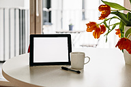 Tablet PC, stylus and a coffee cup on a white round table with red tulips - MFF001393