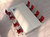 3D Rendering, Conference table with laptop and red chairs - UWF000347