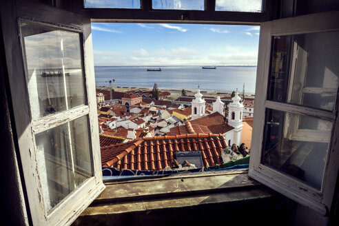 Portugal, Lisbon, view of Alfama neighborhood and River Tejo through open window - EHF000062