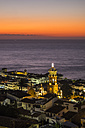 Mexico, Puerto Vallarta, lighted Church of Our Lady of Guadalupe after sunset - ABAF001618