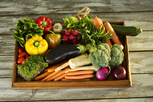 Wooden tray with different vegetables - MAEF009376