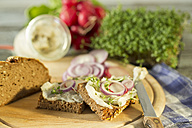 Lard bread garnished with, red radish, onion rings and cress - MAEF009385
