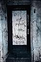 Germany, Wuppertal, graffiti at door - DWI000395