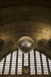 Switzerland, Basel, mirror ball hanging in station concourse - FC000613