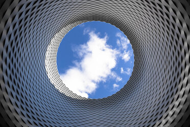 Switzerland, Basel, modern architecture at trade fair grounds, view to sky with cloud - FCF000622