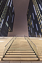 Germany, Duesseldorf, media harbor, stairs at Hyatt Regency Hotel at night - WIF001311