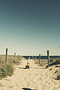 Boy walking to the beach with toys, Cronulla, New South Wales, Australia - SBD001665