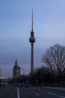 Germany, Berlin, St. Mary's Church and television tower at twilight - BIGF000053