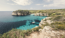 Spain, Balearic Islands, Menorca, Macarella bay with cala Macarelleta - RAEF000013