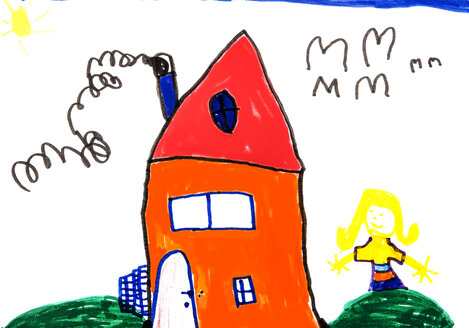 Child's drawing, Colorful house and girl - WWF003388