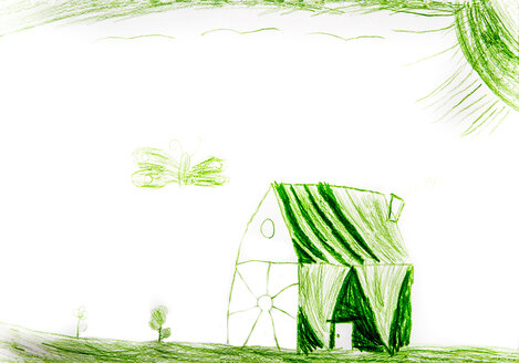Child's drawing, Green house and butterfly - WWF003392