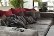 Living room with gray couch and remote control on armrest - SHKF000230