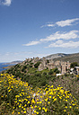 Greece, Vatheia, tower houses and coastal landscape - WWF003509