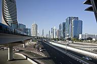 UAE, Dubai, view to Sheikh Zayed Road and driving metro - PCF000040