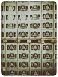 Germany, Stacked beer crates on pallets - KRP001241