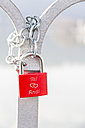 Red love lock with names - EJW000651