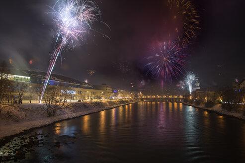 Austria, Tyrol, Schwaz, New Year's Eve fireworks - MKFF000152