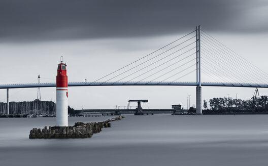 Germany, Mecklenburg-Western Pomerania, Stralsund, harbour and Ruegen bridge, Strelasund Crossing - MKFF000163
