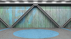 Painted concrete wall and steel girders, 3D Rendering - UWF000350