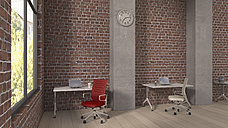 Loft with workspaces, 3D Rendering - UWF000354