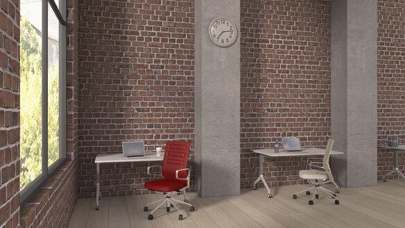 Loft with workspaces, 3D Rendering - UWF000354