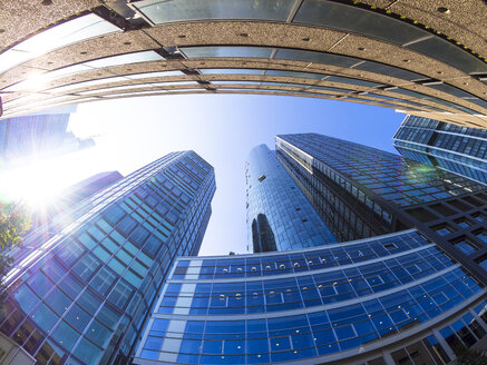Germany, Hesse, Frankfurt, Commerzbank and Hessische Landesbank, against the sun, low angle view - AMF003697