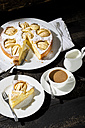Home-baked apple pie and cup of white coffee - MAEF009681