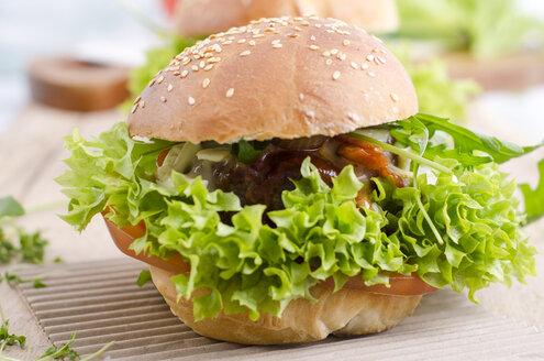 Homemade veggie burger on sesame roll with lettuce - ODF001102