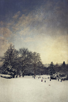 Germany, Wuppertal, coasting slide in winter, textured effect - DWI000413