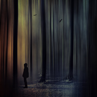 Germany, man standing in forest, digitally manipulated - DWI000419