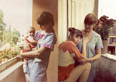 Mother and daughter in now and then photos, baby being held on balcony - MFF001475