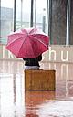 Austria, Thalgau, teenage girl with red umbrella sitting on her suitcase in the rain - WWF003769