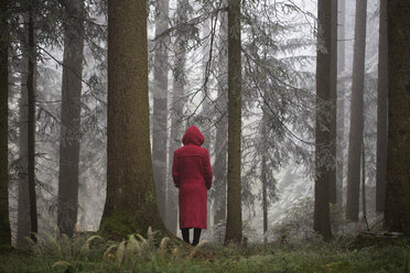 Austria, woman standing alone in the wood - WW003795