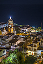 Mexico, Puerto Vallarta, at night, downtown with church tower - ABAF001626