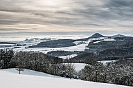 Germany, Baden-Wuerttemberg, Constance district, View to wintry Hegau landscape in winter - ELF001480