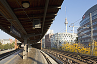 Germany, Berlin, S-Bahn station Hackescher Markt with television tower in the background - MEM000701