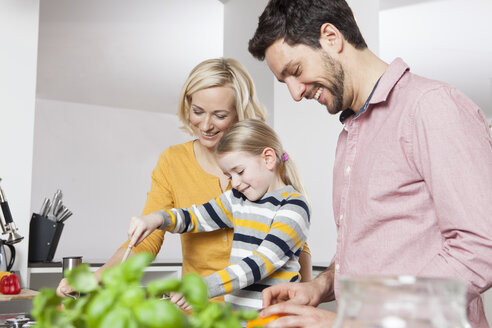 Mother, father and daughter cooking in kitchen - RBF002382