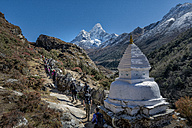 Nepal, Khumbu, Everest region, Pangboche, trekkers on the Everest Trail with Ama Dablam - ALR000009