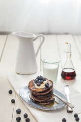American pancakes with butter, maple syrup, and blueberries - SBDF001605
